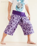 cropped thai fisherman pants fold over waist wrap around jungle yoga capris relaxed loose fit handmade cotton tribal spiral cool purple ii side