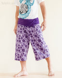 cropped thai fisherman pants fold over waist wrap around jungle yoga capris relaxed loose fit handmade cotton tribal spiral cool purple ii walk