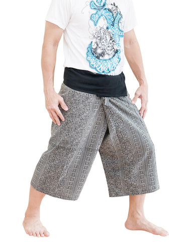 cropped thai fisherman pants short wrap around fold over waist capri pants loose fit low crotch traditional yoga trousers black sayagata mountain tribal side