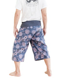 Cropped Fisherman Pants Oceanic Blue Gray Capri (Lotus Mushroom Spore)