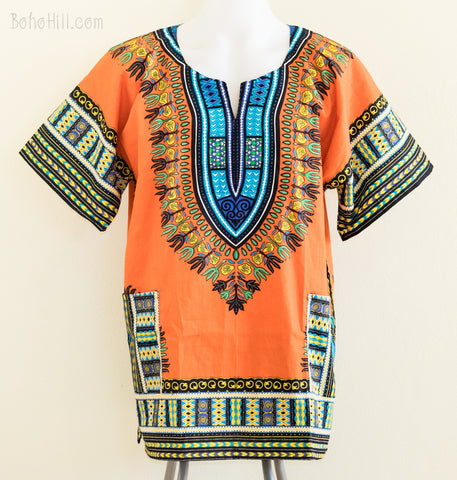 Dashiki Shirt - Size L African Dashiki Kaftan Hippie Festival Colorful Shirt (Orange)