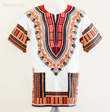 Dashiki Shirt - Size S/M Unisex African Dashiki Kaftan Hippie Festival Shirt (White/Orange)