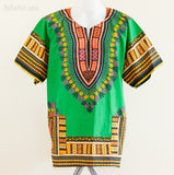 Dashiki Shirt - Size XL African Dashiki Kaftan Hippie Festival Colorful Shirt (Green II)