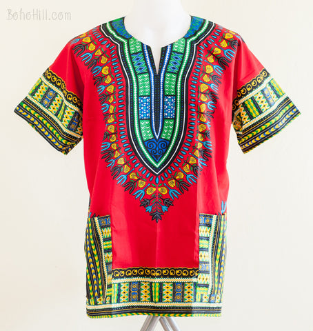 Dashiki Shirt - Size XL African Dashiki Kaftan Hippie Festival Colorful Shirt (Red)