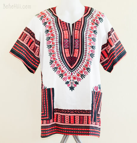 Dashiki Shirt - Size XL African Dashiki Kaftan Hippie Festival Colorful Shirt (White/Red)