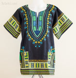 Dashiki Shirt - Size XL African Dashiki Kaftan Hippie Festival Shirt (Black/Green)