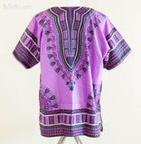 Dashiki Shirt - Size XL African Dashiki Kaftan Hippie Festival Shirt (Full Purple)