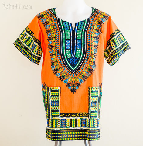 Dashiki Shirt - Size XL African Dashiki Kaftan Hippie Festival Shirt (Orange)