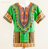 Dashiki Shirt - Size XS Unisex African Dashiki Junior Hippie Festival Shirt (Green)