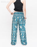 Diamond Elephants Loose Fit Comfy Yoga Pants Genie Harem Pants (Teal) back