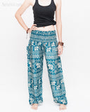 Diamond Elephants Loose Fit Comfy Yoga Pants Genie Harem Pants (Teal) front