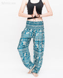 Diamond Elephants Loose Fit Comfy Yoga Pants Genie Harem Pants (Teal) namaste