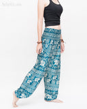 Diamond Elephants Loose Fit Comfy Yoga Pants Genie Harem Pants (Teal) side