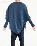 Diamond Shaped Batwing Long Sleeves Unisex Jacket Jersey Cotton Tunic Navy Blue back