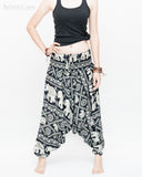 Elephant Festival Harem Pants Baggy Low Crotch Yoga Trousers (Black White) front