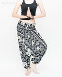 Elephant Festival Harem Pants Baggy Low Crotch Yoga Trousers (Black White) namaste