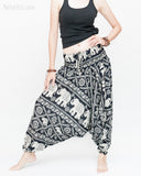 Elephant Festival Harem Pants Baggy Low Crotch Yoga Trousers (Black White) side