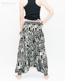 Elephant Indian Vine Harem Pants Unisex Low Crotch Yoga Trousers (Black White) back