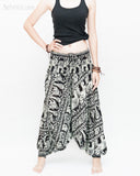 Elephant Indian Vine Harem Pants Unisex Low Crotch Yoga Trousers (Black White) front
