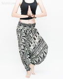 Elephant Indian Vine Harem Pants Unisex Low Crotch Yoga Trousers (Black White) namaste