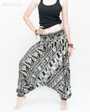 Elephant Indian Vine Harem Pants Unisex Low Crotch Yoga Trousers (Black White) side