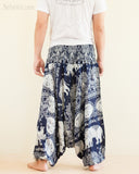Elephant Lotus Harem Pants Unisex Low Crotch Yoga Trousers Blue Navy back