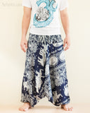 Elephant Lotus Harem Pants Unisex Low Crotch Yoga Trousers Blue Navy front