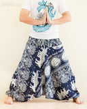 Elephant Lotus Harem Pants Unisex Low Crotch Yoga Trousers Blue Navy namaste
