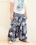 Elephant Lotus Harem Pants Unisex Low Crotch Yoga Trousers Blue Navy side