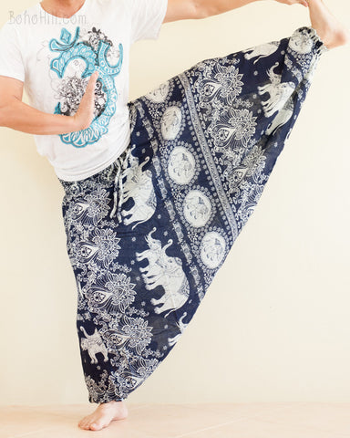 Elephant Lotus Harem Pants Unisex Low Crotch Yoga Trousers Blue Navy stretch
