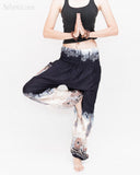 Elephants Cloud Loose Fit Comfy Yoga Pants Genie Harem Pants (Black White) namaste
