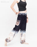Elephants Cloud Loose Fit Comfy Yoga Pants Genie Harem Pants (Black White) side