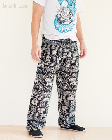 Elephants Diamond Yoga Pants Harem Trousers Smocked Waist Black side