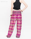 Elephants Paisley Loose Fit Comfy Yoga Pants Genie Harem Pants (Pink) back