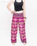 Elephants Paisley Loose Fit Comfy Yoga Pants Genie Harem Pants (Pink) front