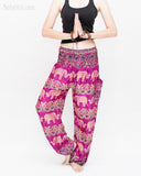Elephants Paisley Loose Fit Comfy Yoga Pants Genie Harem Pants (Pink) namaste