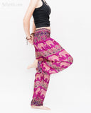 Elephants Paisley Loose Fit Comfy Yoga Pants Genie Harem Pants (Pink) side