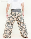 extra long gray fisherman pants fold over wrap waist cotton yoga trousers lotus hippie psychedelic mushroom spore design back