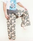 extra long gray fisherman pants fold over wrap waist cotton yoga trousers lotus hippie psychedelic mushroom spore design balance
