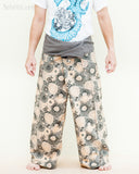 extra long gray fisherman pants fold over wrap waist cotton yoga trousers lotus hippie psychedelic mushroom spore design front