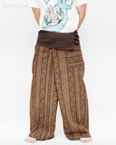 extra long loose fit wrap around pajamas full body mountain tribal triangle striped motif fold over waist long yoga high quality fisherman pants plus tall size brown front