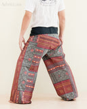Extra Long Mountain Tribal Printed Cotton Thai Fisherman Pants Rustic Red back