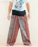 Extra Long Mountain Tribal Printed Cotton Thai Fisherman Pants Rustic Red front