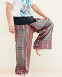 Extra Long Mountain Tribal Printed Cotton Thai Fisherman Pants Rustic Red one leg