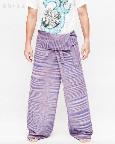 extra long one of a kind thai fisherman pants wrap around fold over waist pajamas hand woven soft tribal cotton cool purple tiger stripe jmx29 front