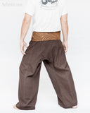 extra long organic cotton thai fisherman pants plain brown fold over waist tribal circular design low crotch wrap around pajamas back