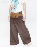 extra long organic cotton thai fisherman pants plain brown fold over waist tribal circular design low crotch wrap around pajamas walk
