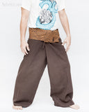 extra long organic cotton thai fisherman pants plain brown fold over waist tribal circular design low crotch wrap around pajamas wide