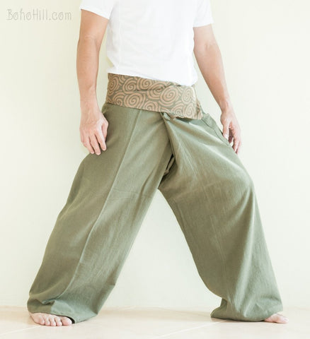 Extra Long Organic Cotton Thai Fisherman Pants Tribal Pattern Earth Green SOX side