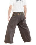extra long thai fisherman pants flexible relaxed low crotch ancient tribal spiral wrap around fold over waist plus size loose fit yoga pants dark brown back